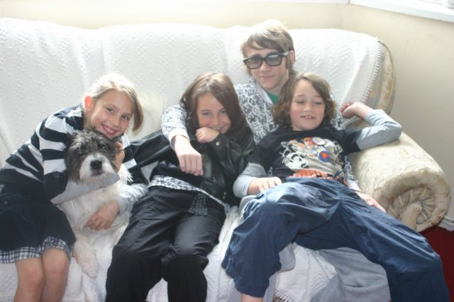 The Kids and Sky the dog